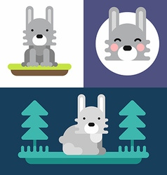 A set of three colorful bright of little hare vector image