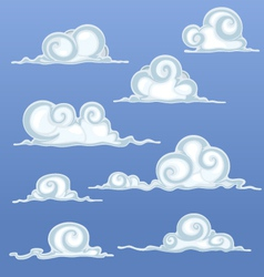 Beautiful Cartoon Clouds vector image vector image