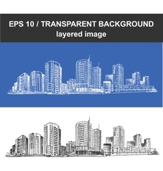 Cityscape Line Sketched Up vector image
