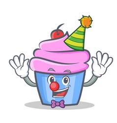 clown cupcake character cartoon style vector image