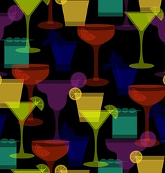 cocktail silhouettes dark seamless pattern vector image vector image