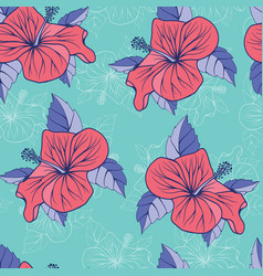 tropical flowers hibiscus exotic seamless vector image vector image