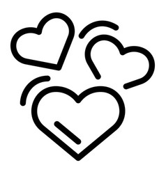 Affection hearts icon outline style vector