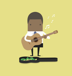 African businessman playing guitar for money vector