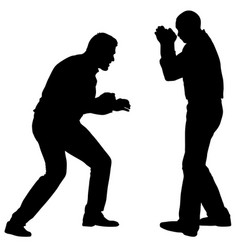 black silhouette of an athlete boxer on a white vector image
