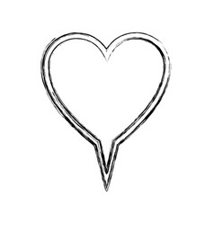 Blurred silhouette heart shape dialog box vector
