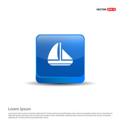 boat icon - 3d blue button vector image
