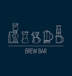 Brew bar set of white linear icons about vector