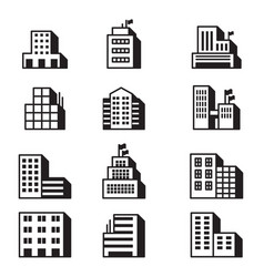 building icons symbol set vector image