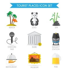 Building Tourism Icons Flat vector image