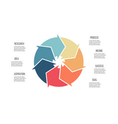 business infographics pie chart with 7 parts vector image