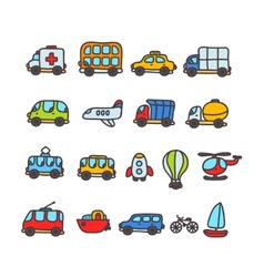 Cartoon hand drawn transport icon set vector