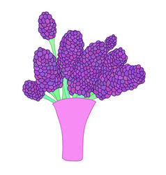 Cartoon lilac bouquet in simple pink vase vector
