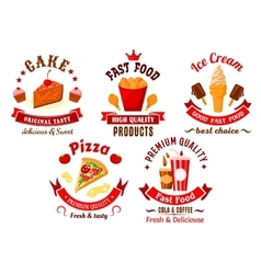 Cartoon retro fast food and pastry symbols vector