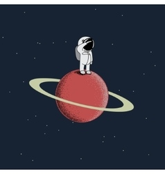 Cartoon spaceman standing on the red planet vector