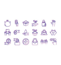 charity help donation icons set vector image