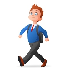 Cheerful cute young boy in uniform walking to vector
