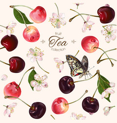 cherry tea seamless pattern vector image