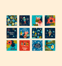 Christmas cards with dancing women and new year s vector