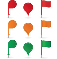 Color pins and flags collection vector image