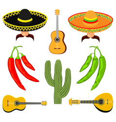colorful cartoon 8 mexican elements vector image