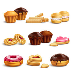 cookies and buisquits realistic set vector image