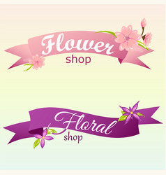 creative logos for flower shop with banner vector image