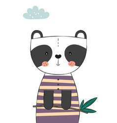 cute panda bear holding eucalyptus branch vector image