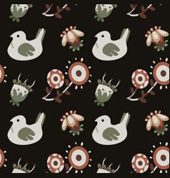 dark naive fantasy flower and birds pattern vector image