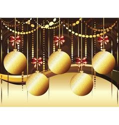 Decorative gold xmas balls vector