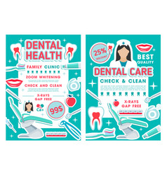 dental clinic and dentistry discount offer poster vector image