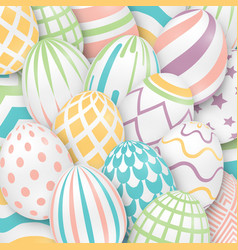 easter background with 3d ornate eggs vector image