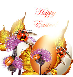 Easter greeting background with eggs and ladybirds vector