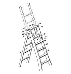 Expanding ladder vintage vector