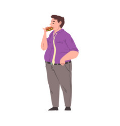 fat man eating hamburger obese person enjoying of vector image