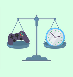 Game controller and clock on scales vector
