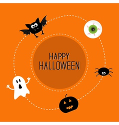 Ghost bat spider eye pumpkin Happy Halloween set vector