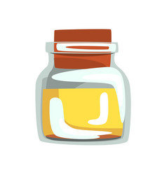 Glass jar with yellow oil for spa and aromatherapy vector