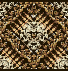 gold baroque ornamental 3d seamless pattern vector image