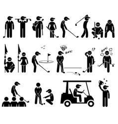 golf player actions poses stick figure pictogram vector image