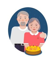 Grandparents Golden Anniversary Portrait vector image