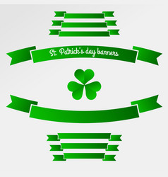 green clover trefoil symbol and banners happy vector image
