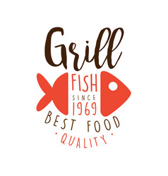 Grill fish since 1969 logo template hand drawn vector