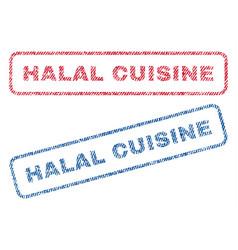 Halal cuisine textile stamps vector