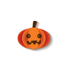 halloween pumpkin with scared face and cute teeth vector image