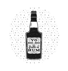 hand drawn fun rum poster with bottle and quote vector image