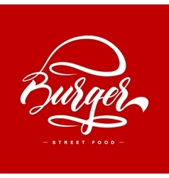 Hand lettering burger food logo design concept vector