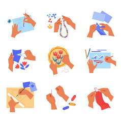Handmade and craft hobby or pastime human hands vector