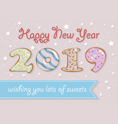 happy new year 2019 vintage donuts vector image