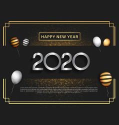 Happy new year 2020 silver number with party vector